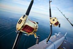 Big game fishing. Reel in natural setting Royalty Free Stock Photos