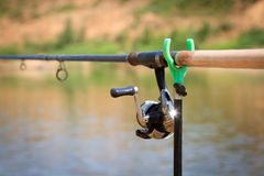 Big game fishing reel and rod Royalty Free Stock Photos