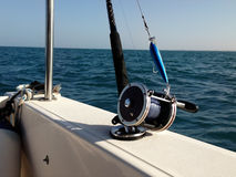 Big game fishing reels and rods stock images