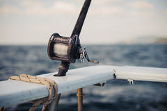 Big game fishing reels and rods royalty free stock photo