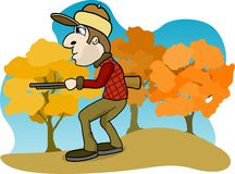 Big Game Hunter. Illustration of a man hunting in the woods Stock Images