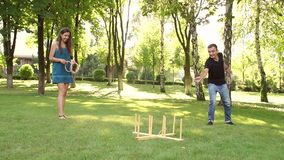 Big game ring toss. Game ring toss to the cross. stock video footage