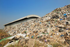 Big garbage heap problem of pollution. Abandoned aged bad bag corrosion dirty dispose dump ecology environment environmental fill garbage heap industrial Royalty Free Stock Photo