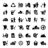 Big garbage icons set. Big Garbage And Cleaning Icons Set Created For Mobile, Web And Applications Stock Images