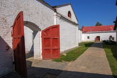 Courtyard in an Old monastery. Suzdal, Russia. Big gate in the Courtyard in an Old monastery. Suzdal, Russia stock images