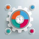 Big Gear Colored 4 Options Cycle Clock Centre. Infographic design with clock and gear on the gray background Stock Photo