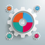 Big Gear Colored 4 Options Cycle PiAd. Infographic design on the grey background. Eps 10  file Stock Photography