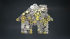 Big gears gathered house, residence shape animation. stock video footage