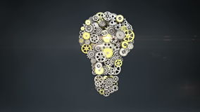 Big gears gathered idea bulb shape animation. Big gears gathered idea bulb shape animation stock footage
