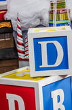 Big giant blocks with letters Stock Photo