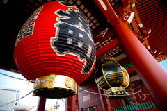 A big giant Japanese red lantern at the Kaminari-mon Stock Images
