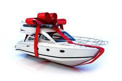 The big gift. Boat with red bow, isolated on a white background,Part of a series Stock Photo
