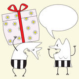 Big gift. He gives her a great gift, illustration eps8 Royalty Free Stock Image
