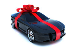 The big gift. Sports car with bow, isolated on a white background,Part of a gift car series Royalty Free Stock Photos