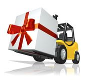 Big Gift. 3D rendered yellow forklift with big gift Stock Photography