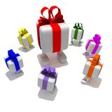 Big gift. Small white gift with multi coloured tapes look on big  on a white background Royalty Free Stock Photos