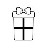 Big gift box with bow outline. Vector illustration eps 10 Stock Photo