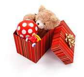Big gift box full of toys Stock Photos