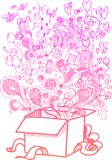Big gift box, sketchy doodles Stock Images