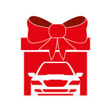 Big gift car red bow design Royalty Free Stock Photos