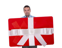 Big gift card concept. Man holding big gift card Stock Photography