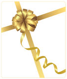 Big gift gold bow with a ribbon. Royalty Free Stock Image