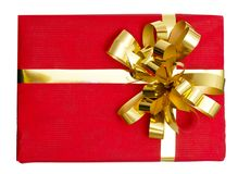 Big gift red box with ribbon isolated on a white Royalty Free Stock Images