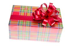 Big gift red box with ribbon isolated on a white Royalty Free Stock Photography