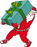 Big gift santa. Father Christmas carrying enormous present Stock Images