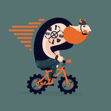 Big ginger biker on a little bike. Funny man on a bycicle. Stock Photos