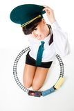 Big girl play railroad Stock Photo