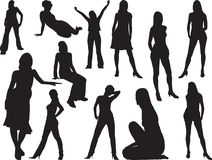 Big girls set - 1. Silhouettes Stock Image