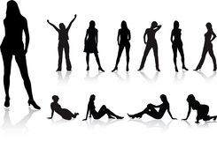 Big girls set - 2. Silhouette Royalty Free Stock Photos