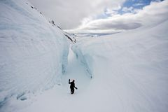 In the big glacier crevasse - Arctic, Spitsbergen Stock Photography