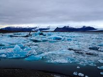 Big glacier lagoon in blue shading Royalty Free Stock Image