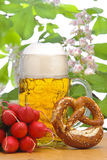 Big glass of bavarian lager beer Stock Photo