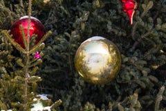 Big glass christmas toys and balls. Royalty Free Stock Photography