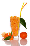 Big glass filled with orange mandarin citrus fruit slices, decor Stock Photo