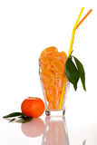 Big glass filled with orange mandarin citrus fruit slices, decor Royalty Free Stock Images