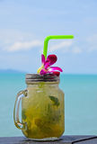 Big glass of mojito with orchid flower on beach Stock Photos