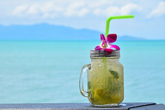 Big glass of mojito with orchid flower on beach Stock Images