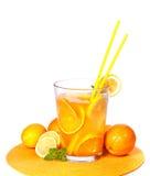 Big Glass of orange and lemon juice. On white background Stock Photo
