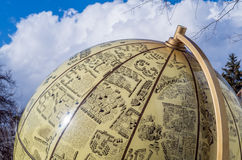 Big globe with city views. And sky in Ukraine Royalty Free Stock Images
