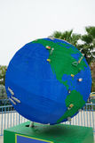 Big globe made by lego (showing north america). Globe made by lego (showing north america), Taken in legoland florida, winter haven, FL stock photos