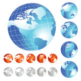 Big Globe set. Big set of shiny Globe in five different views, vector illustration - World map Courtesy of NASA, author Tinka Sloss Stock Images