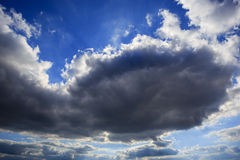 Big gloomy storm cloud in blue sky. Royalty Free Stock Photos