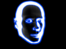 Big glowing head. Xray style illustration of a human head computer render xray man head concept person looking cyberspace robot artificial intelligence AI ghost Royalty Free Stock Image