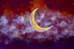 A big glowing luna month moon in the night clouds on paper background. For Ramadan Kareem. Watercolor drawing acrylic oil painting illustration artwork stock illustration