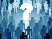 Big glowing question mark surrounded by a human crowd (blue tone Royalty Free Stock Photography