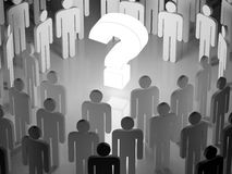 Big glowing question mark surrounded by a human crowd (3D render Stock Photo